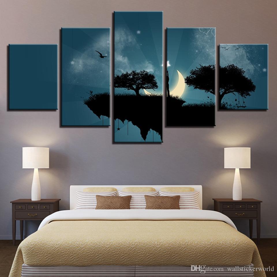 Moderne Leinwand Bild HD Gedruckt Wandkunst Rahmen 5 Stücke Cliff Bäume Mondschein Nacht Wohnzimmer Wohnkultur Malerei Poster