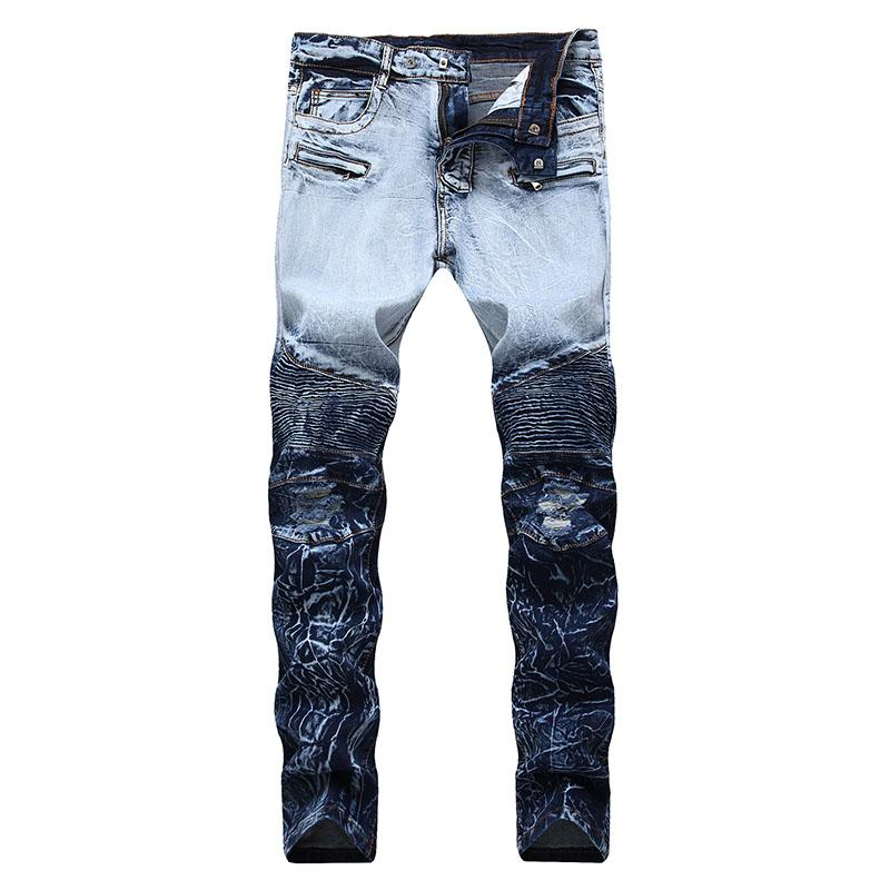 1578da459c8 2019 Men Ripped Jeans Biker Slim Fit Pleated Jeans Pants Fake Zipper  Stretch Fashion Trousers New Design Plus Size 28 42 Dropshipping From  Xiayuhe