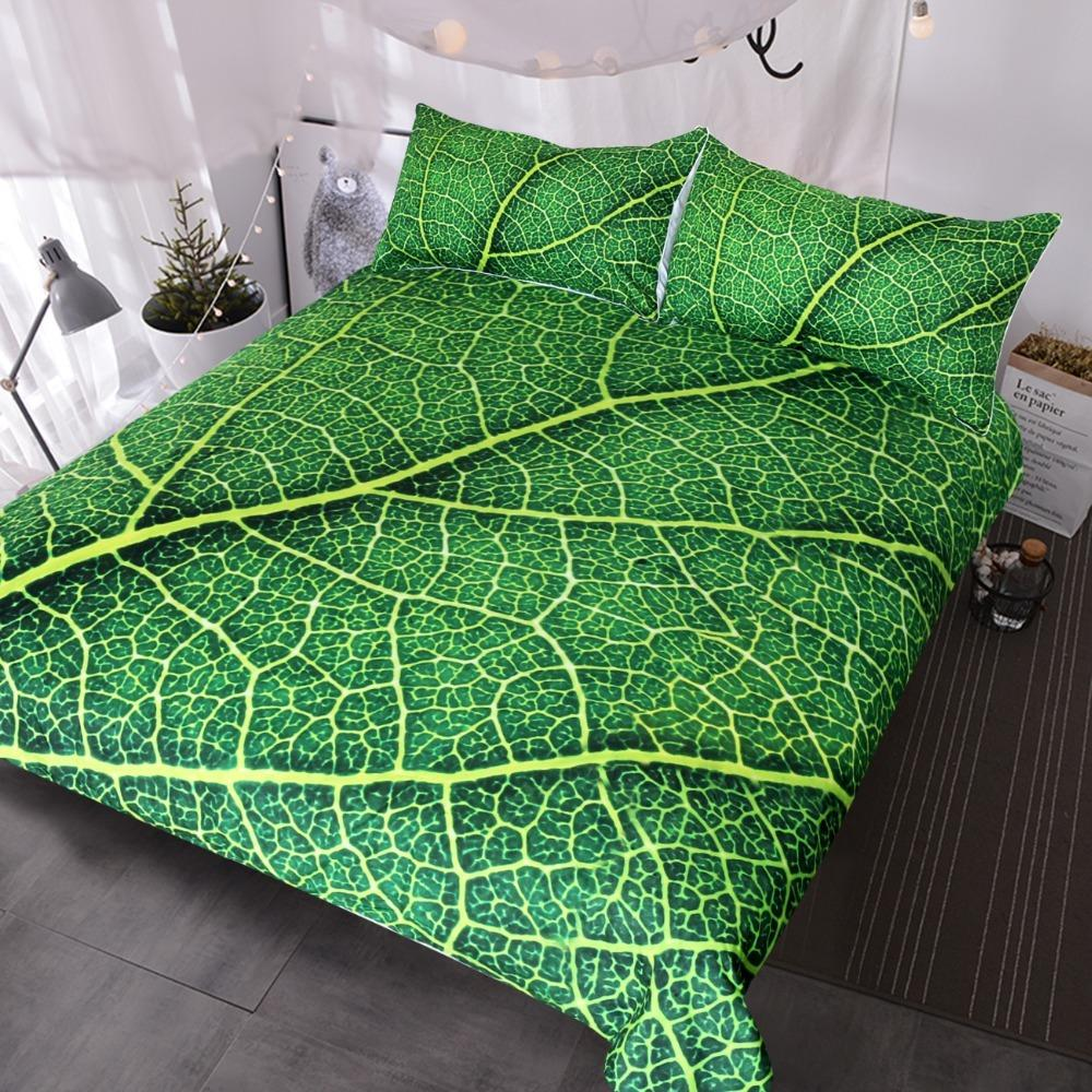 Green Leaf Stems Bedding Set Queen Leaves Texture Duvet Cover Vivid Home  Textiles 3-Piece Bedspreads for Adults Kids