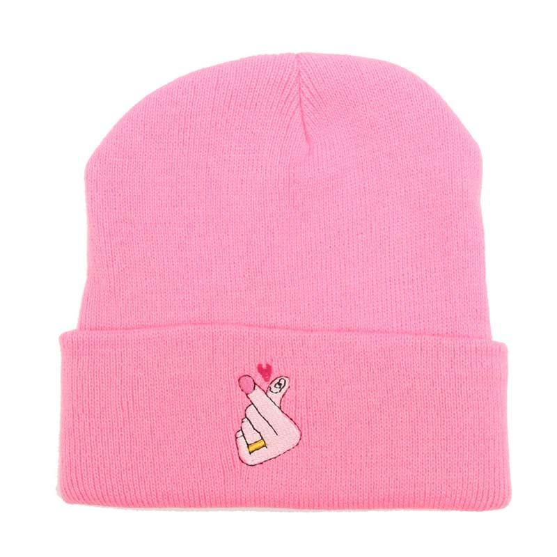 9862fe39d9d Embroidery Love U Pattern Knit Beanies Hats For Women Winter Skully Cap  Gray Black White Blue NEON PINK Baby Hats Fitted Hats From Huteng