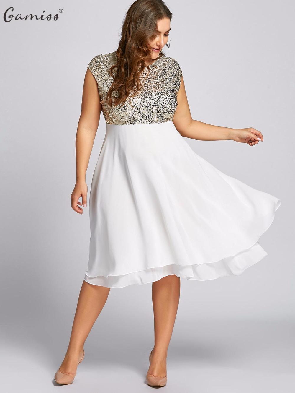 2018 Gamiss Women Flounce Plus Size Dress Sequin Sparkly Dresses ...