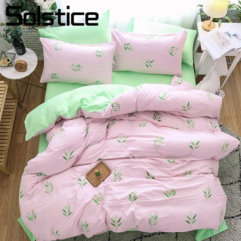 High Quality Solstice Home Textile Girl Teen Bedding Sets Light Pink Green Duvet Cover  Pillowcase Bed Sheet Woman Adult Bedclothes King Queen Queen Comforters  Sets ...