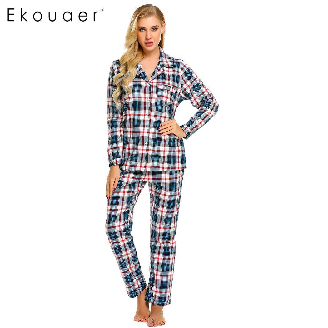 e50b964ac6 2019 Ekouaer Women Sleepwear Long Sleeve Plaid Pajamas Set With Pj Long  Pant Nightwear From Baolv