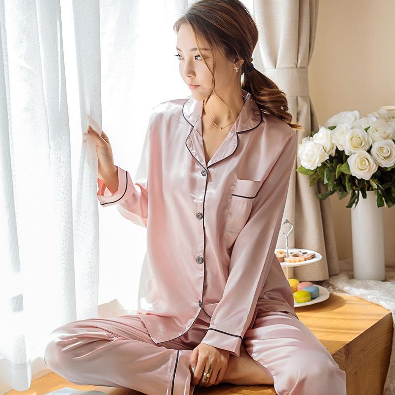 94805608f5 2019 High Grade Silk Pajamas Pyjama Femme Pink Pyjamas Women Sleepwear  Satin Pijamas Mujer Nightwear Pijama Feminino Pajama From Lucycloth