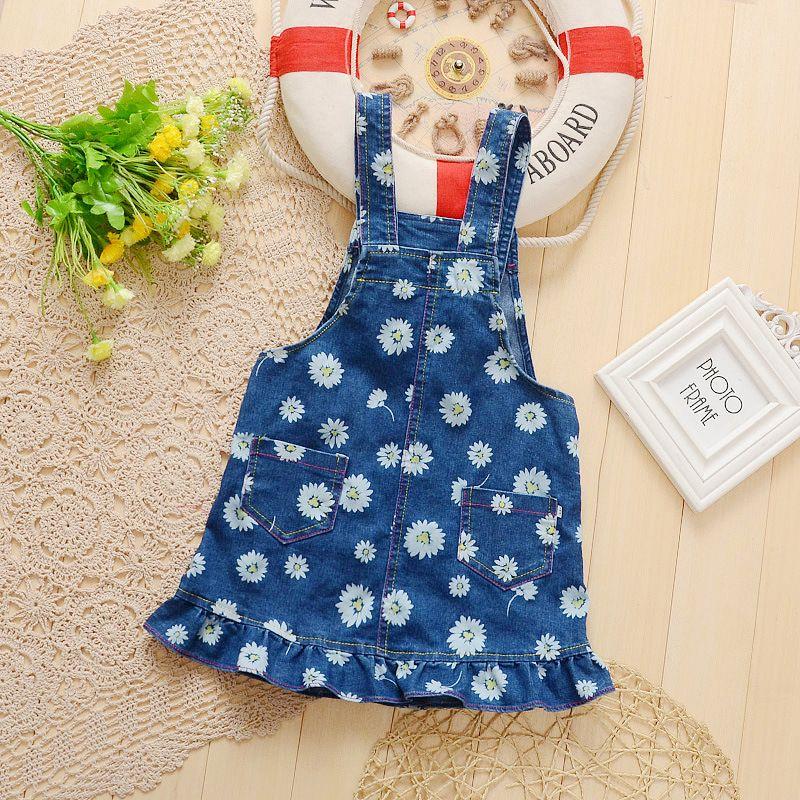 BibiCola 2017 New Summer Baby Girls Clothing Denim Flowers Dresses Child Floral Dresses Kids Girl Leisure Bib Dress Overalls