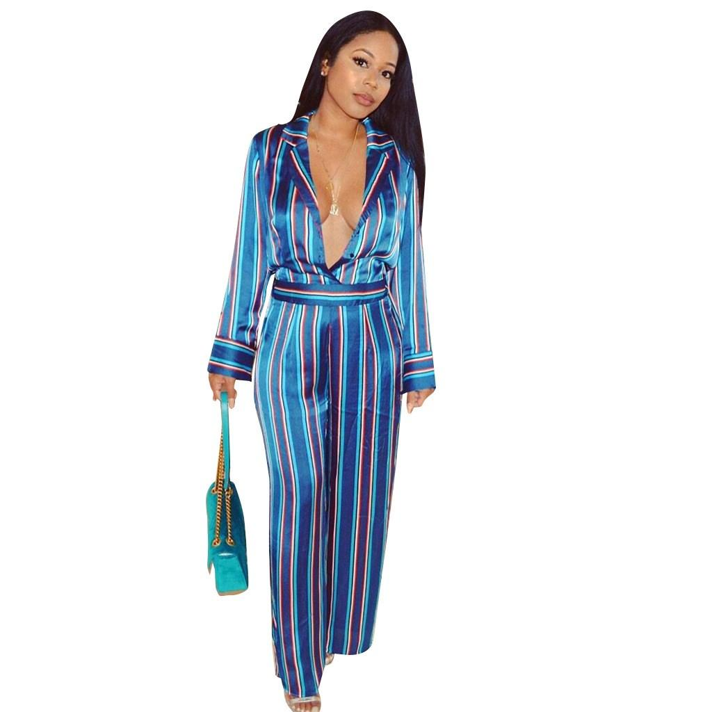 88a3886a74d5 Fashion Sexy Deep V Neck Striped Wide Leg Jumpsuits Turn Down Collar ...