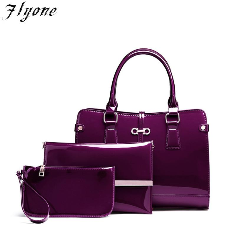 Flyone Luxury Patent Lady Leather Purse And Handbag Women Tote Bags ... 5c827be903dbd