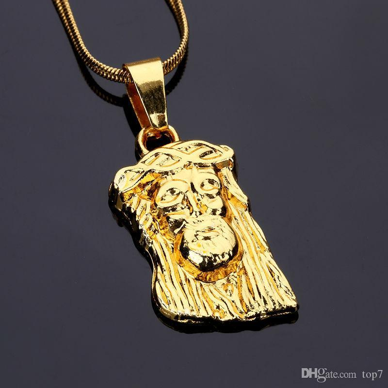 Wholesale 2018 small golden jesus head pendants necklaces gold charm wholesale 2018 small golden jesus head pendants necklaces gold charm beauty christian jewelry 60cm chain men women hip hop fashion gifts pendant necklaces aloadofball Choice Image