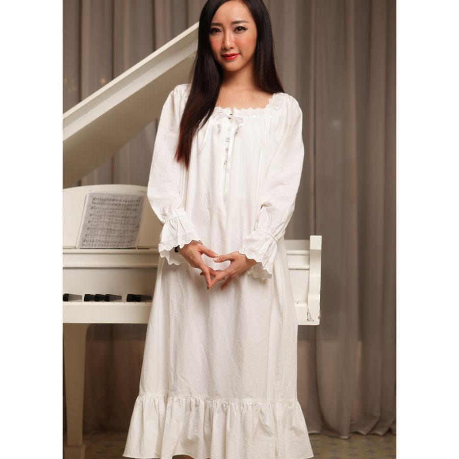 Women nightgowns white spring autumn 100% cotton princess royal vintage sleepshirts long-sleeve long sleepwear fashion lounge