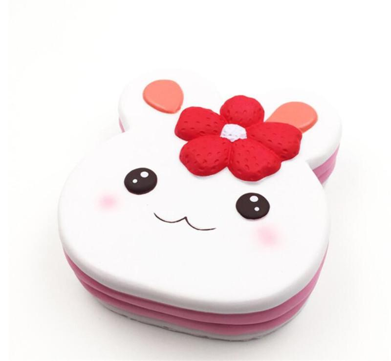 Large Flower Rabbit Cake Squishy Cute 15cm Super Slow Rising Cell Phone Straps Cartoon Pendant Cream Fragrance Bread Children Toys Gifts Fre