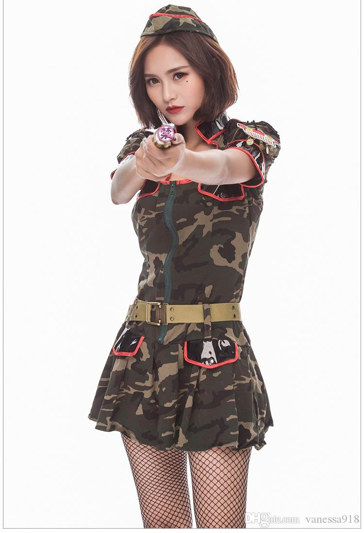 38cd3719b98a Acquista Sexy Adulto Donne Verde Militare Costumi Cosplay Super Military  Camouflage Fancy Dress Halloween Cosplay Uniforme Police Costume PS078 A  $27.42 Dal ...