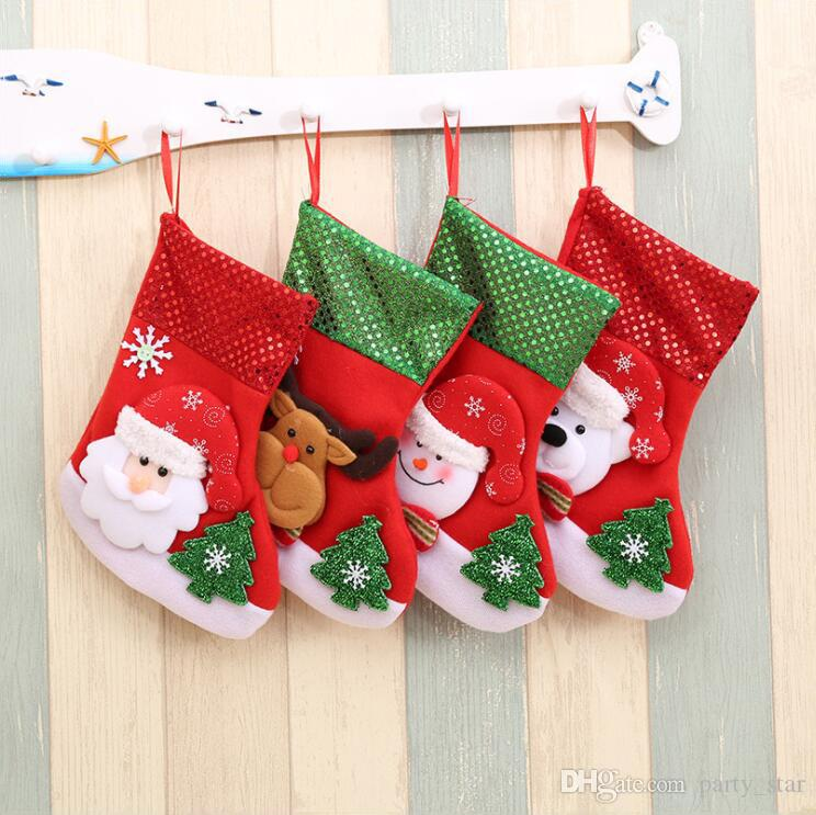 97e28909f2f 15 25cm Sequins Christmas Socks Decorations Children Christmas Party ...
