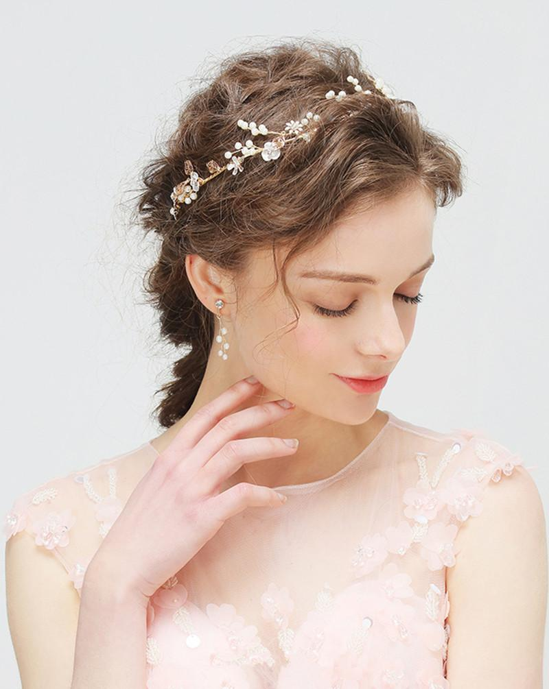 Pearl Bridal Headpiece Wedding Hair bands Bridal Tiaras Headband Wedding Headdress Women Girls Hair Accessories Bride Tiara with Earring