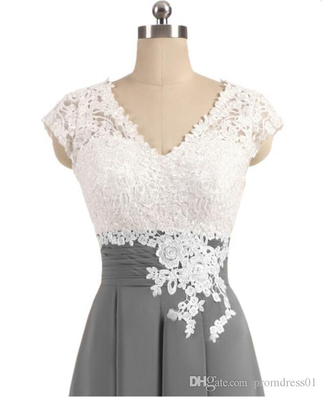 Hot Sell V Neck White Lace Appliques Cap Sleeves Tea Length Mother of the Bride Dresses Mother of the Groom Gowns