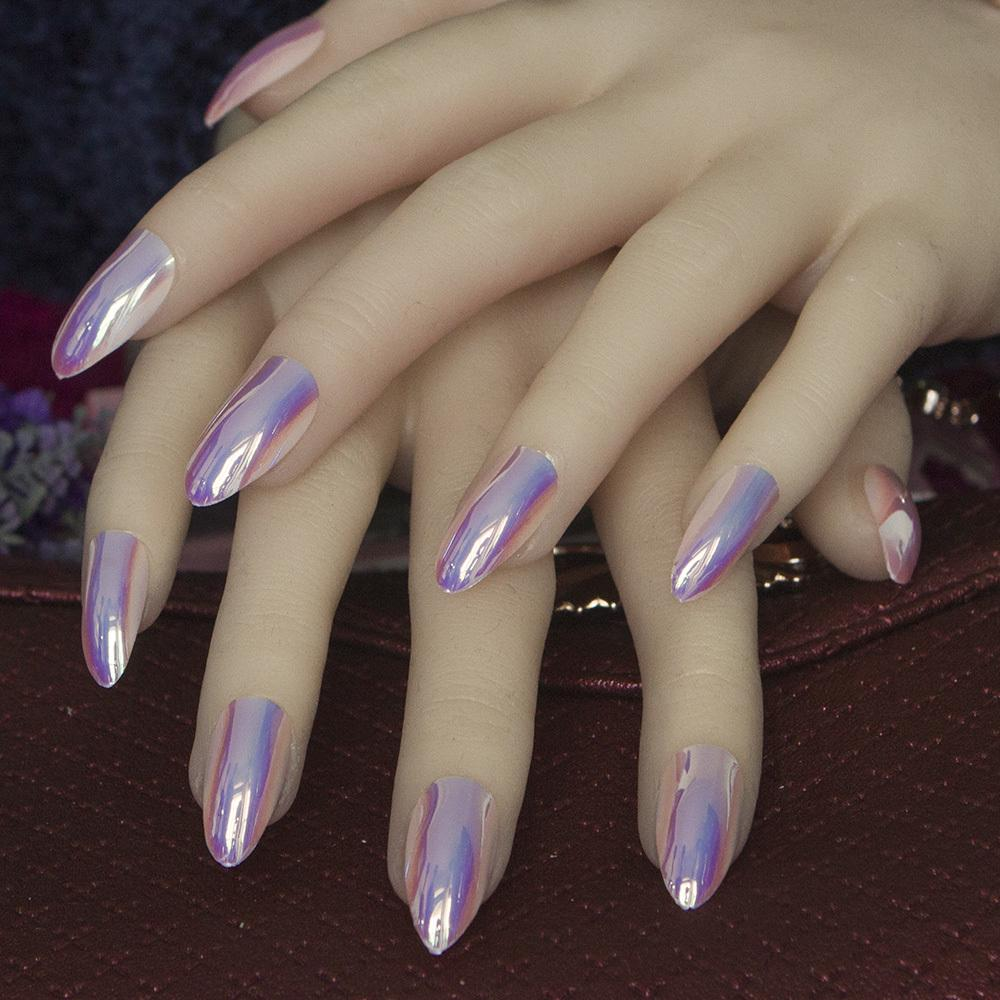 Stiletto Nail Salons Los Angeles: Newest Full Cover Stiletto Nails Tips Metal Purple False