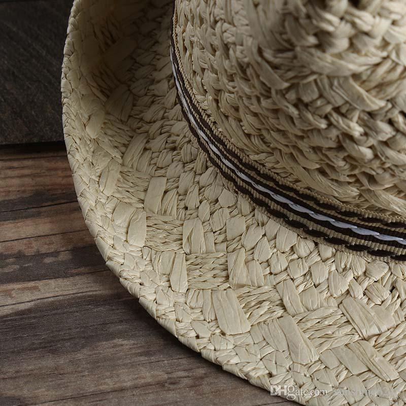 Homens E Mulheres Chapéus De Palha Panamá Chapéus De Aba Mesquita Vogue Macio Para Unisex Verão Sun Beach Caps Chapéus De Jazz De Linho