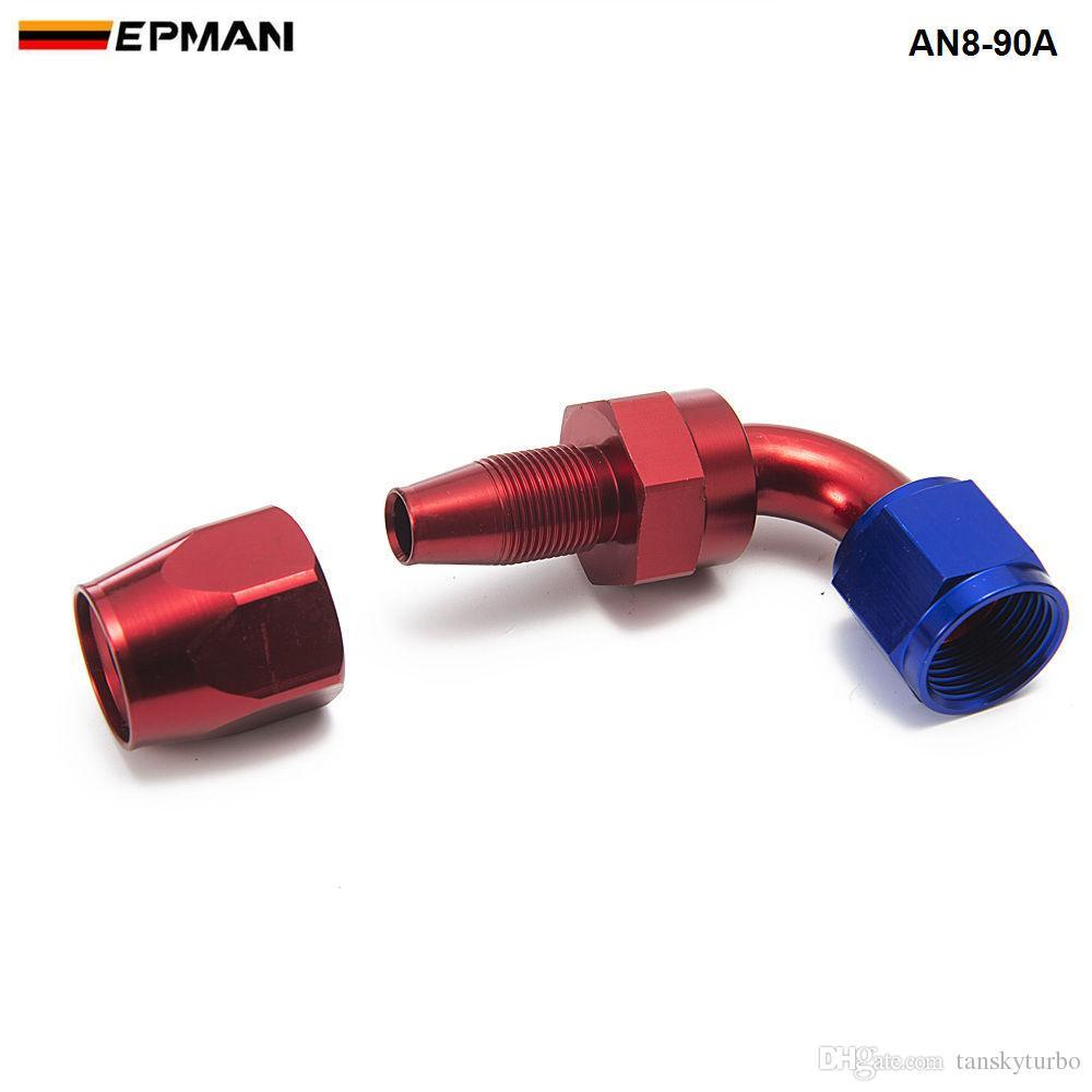 EPMAN -/セット90℃高性能AN8ホースエンドフィットアルミオイルクーラーホースフィッティングAN8-90A