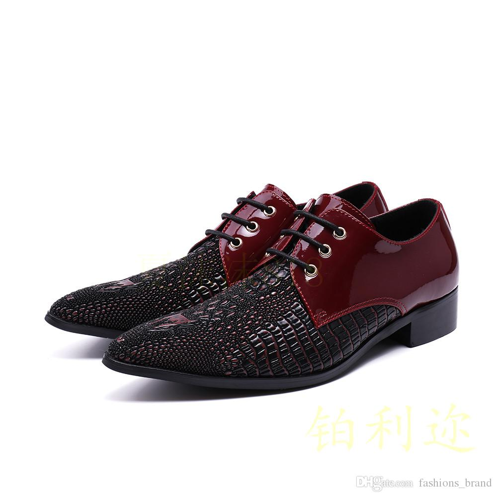 Shoes Italian Shoes Men Leather Wine Red Colors Weddding High Heels Oxfords Snake Skin Pointed Toe Burgundy Dress Loafers Rivets Formal Shoes