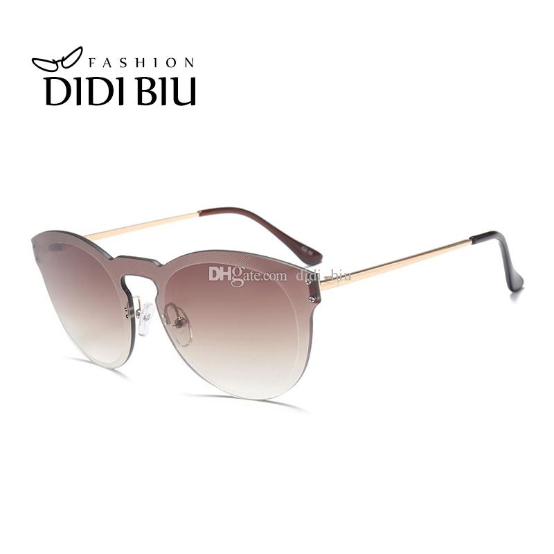 0ab6268661b DIDI Cat Eye Clear Sunglasses Women Classic Brand Designer Rose Gold ...