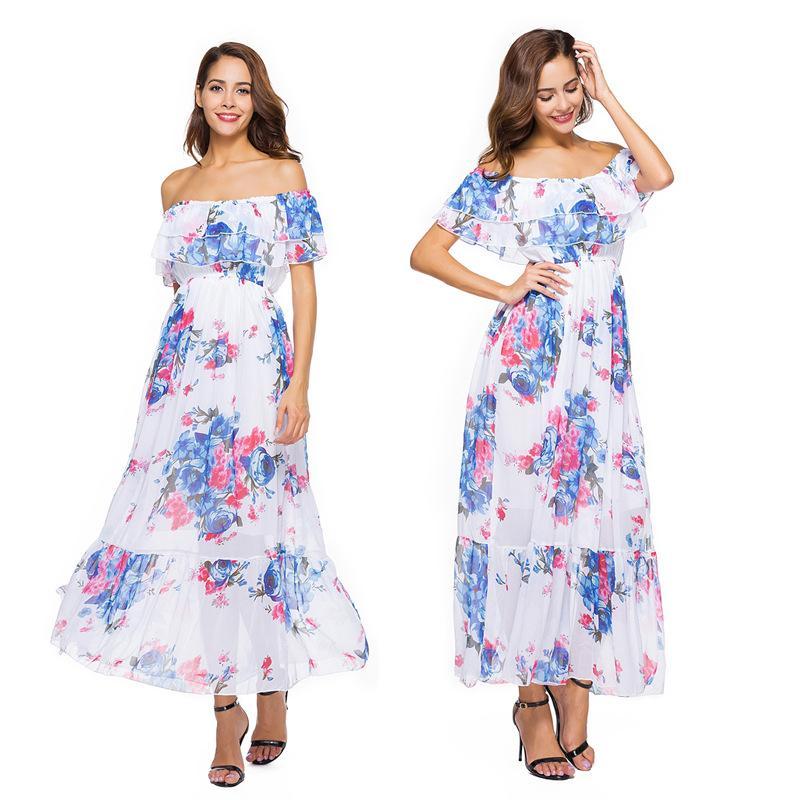 999dd9e8770f Großhandel Vestidos Elegantes Damen Kleidung Kleider Party Abend Ein Wort  Für Ein Böhmisches Chiffon Kleid Mit Einem Sexy Off The Schulter Strand  Kleid Von ...