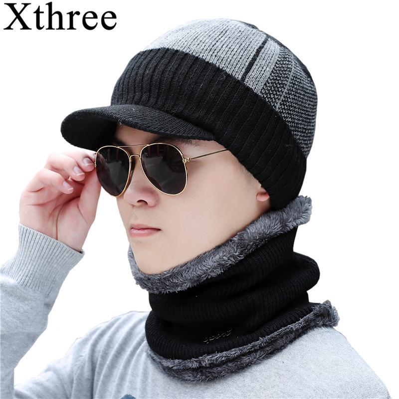 купить оптом Xthree зимние Skullies шапочки шляпа шарф набор мужчины
