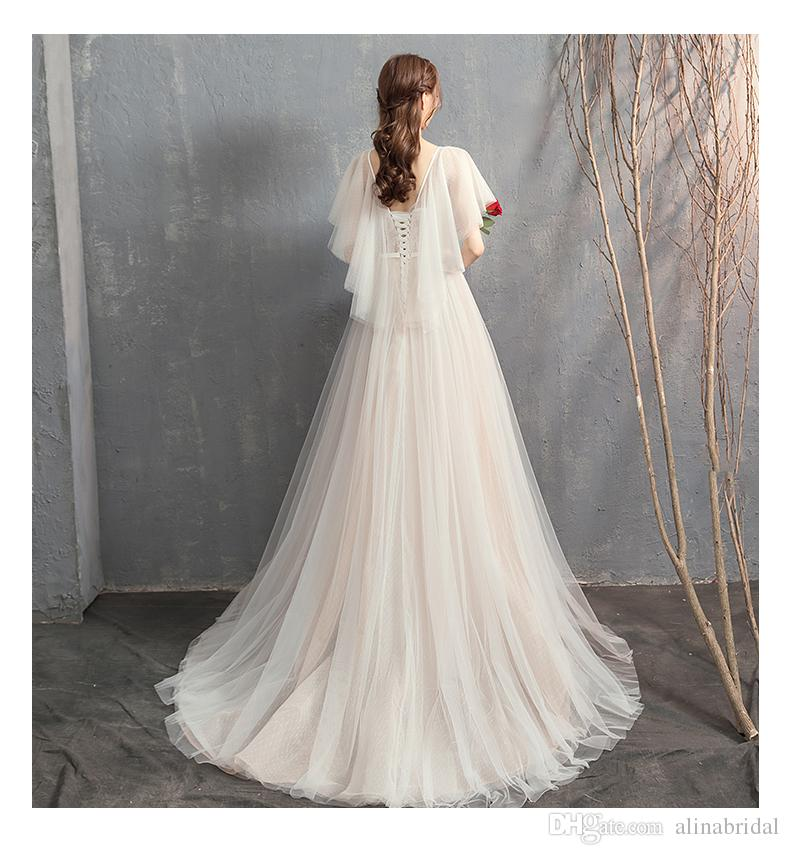Sexy lace up Back Mermaid A-line Hippie Wedding Dresses Korean version Sheer Bolero Off the Shoulder Boho Wedding Gowns Beach Bridal Dress