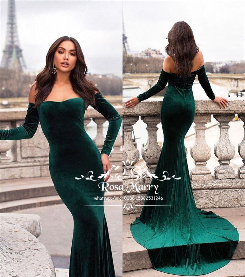 Sexy Hunter Velvet Mermaid Evening Dresses 2018 Off Shoulder Long Sleeve Plus  Size Cheap Trumpet African Arabic Women Formal Prom Party Gown Evening Dress  ... b0e94ffdad47