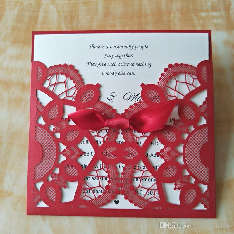 Red Wedding Invitations 2020 Lace Birthday Party Invitation Cards with Envelope Free Customized Printing Wedding Supplies