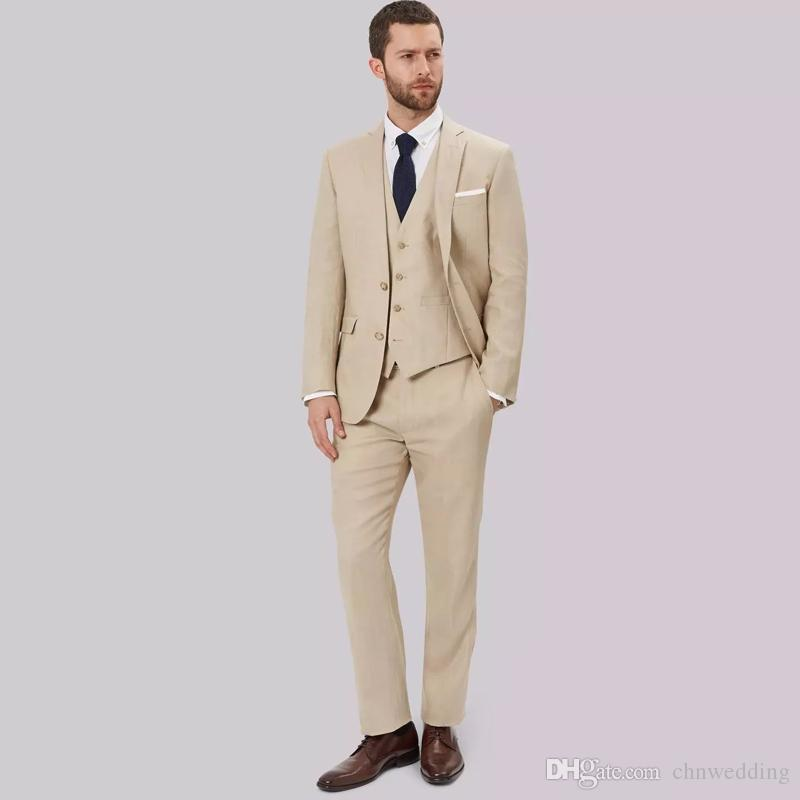 0bd58034ee7 Beige Men Suits Wedding Groom Tuxedo Slim Fit Bridegroom Suits Jacket+Pants+Vest  Best Man Prom Party Wear Blazer White Tuxedos For Prom 1920s Mens From ...