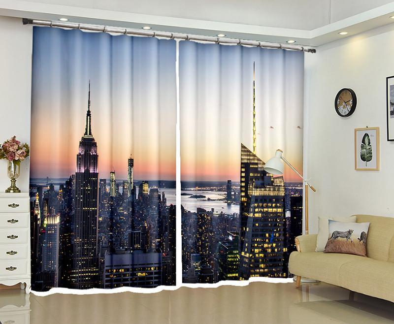 2019 Customized Blackout Curtains City Building 3d Print Window