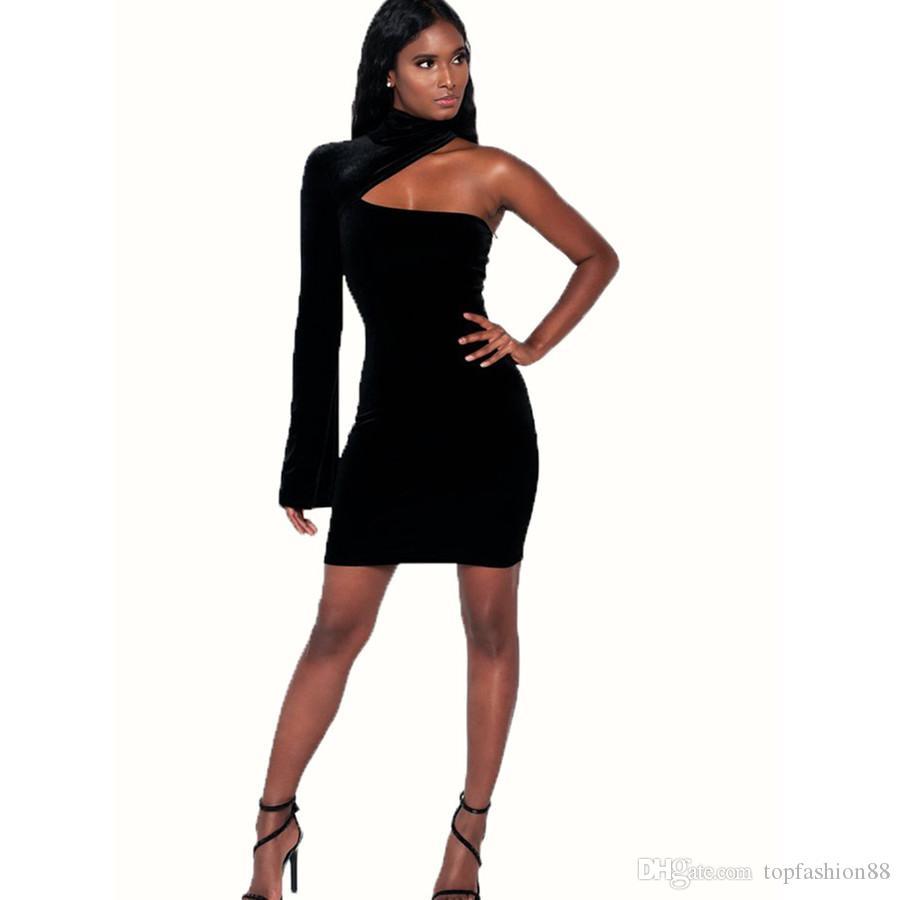 6ed55a396e6 Acheter Femmes Sexy Club Col Roulé Une Epaule Slim Robe De Gaine Pour Femme  Plus La Taille Noir De Mode Full Sleeve Mini Dress De  17.09 Du  Topfashion88 ...