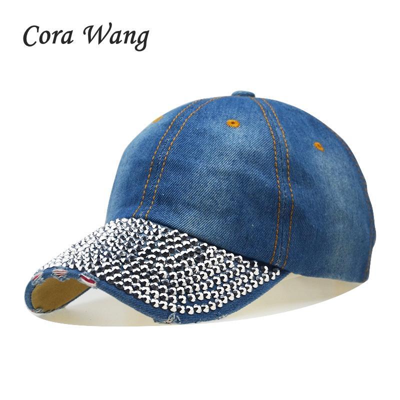 6688097cb20 Hot Cowboy Rhinestone Hat Floral Point Drill Denim Bone Baseball Cap  Snapback Hats For Women Cheap Fashion Sale Caps Kids Hats Ball Caps From  Frenky