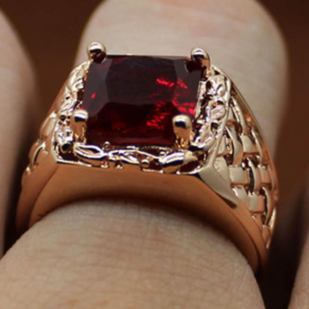 95aa85a4f634 Compre Todo SaleRed Piedra Cristal Vintage Para Hombres   Mujeres Anillo De  Color Oro Joyería Roja Grandes Anillos De Boda Cuadrados A  25.69 Del  Harrieta ...