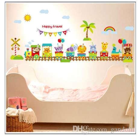Cartoon Tier zug Baby zimmer wandaufkleber für kinderzimmer junge  schlafzimmer wandtattoos poster 60x90 cm CP0418