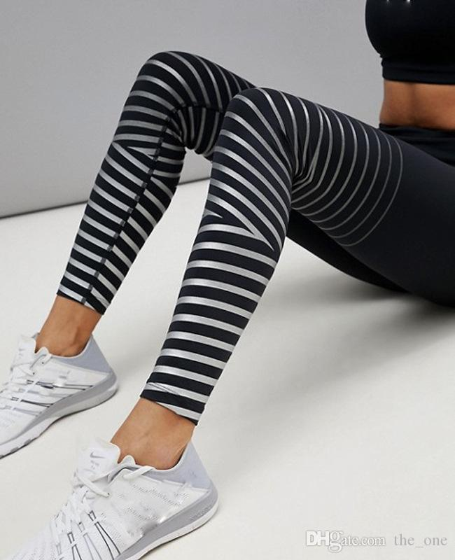 2018 New Stripe Black Sports Leggings Women Running Pants Yoga Fitness High Waist Tights Girls Printed Leggings Warm Bootcut Stretchy Pants