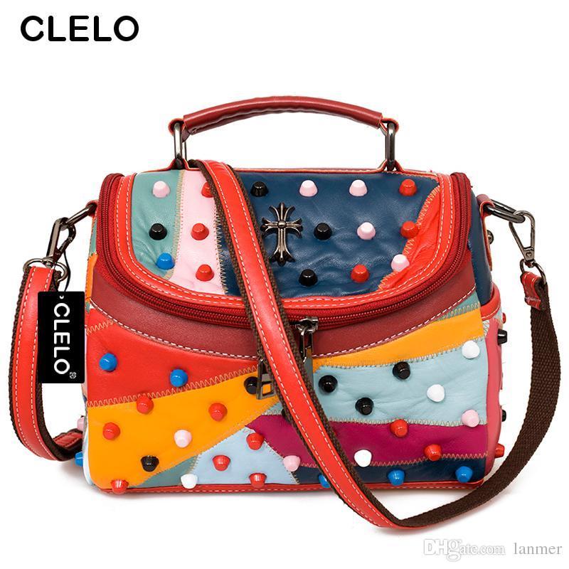 Wholesale CLELO Luxury Women Genuine Leather Bag Sheepskin Messenger Bags  Handbags Women Famous Brand Designer Female Handbag Shoulder Bag Ladies  Handbags ... b7c70d2e9a413