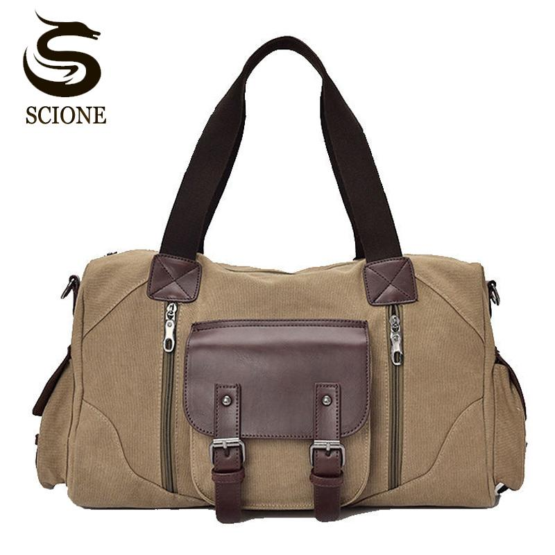 0a5f914fde Canvas Leather Luggage Handbags Large Mens Travel Bag High Quality Canvas Travel  Duffel Bags Male Female Travel Shoulder Bags Travel Bag Men Travel Bags ...