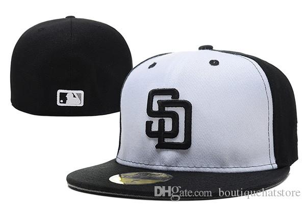 Wholesal Men's Padres fitted hat Top Quality flat Brim embroiered SD letter team logo fans baseball Hat padres cheap full closed bones