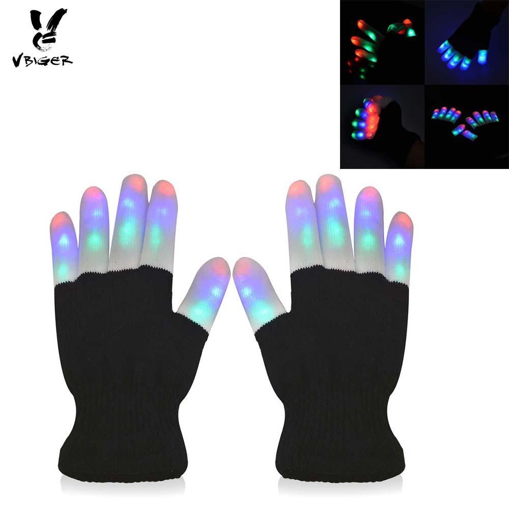 2018 Vbiger Led Novelty Gloves Full Finger Luminous Gloves Funny Rgb ...