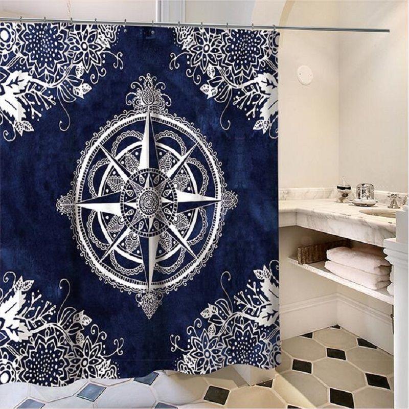 2019 Compass Mandala Clock Shower Curtains Rideau De Douche Cortina Ducha Bathroom Supplies Products HK059 From Bdgarden 3037