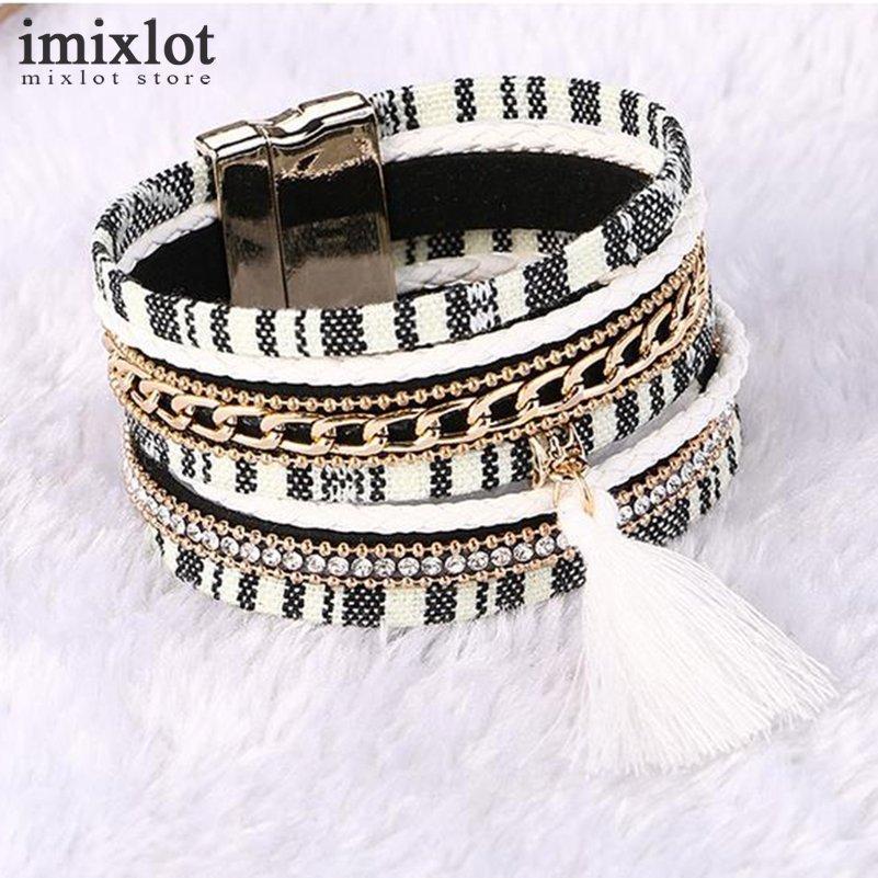 Imixlot Mode Gem Strass Magnétique En Cuir Bracelets Bracelets Boho À La Main Multicouche Wrap Bijoux Femmes Cadeau pulseira