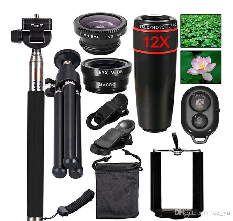 Mini Câmera Kit de Lente Do Telefone Móvel 12X Zoom Lentes de Telefoto Para iPhone e Android Smartphones Monopod Tripé Obturador Bluetooth