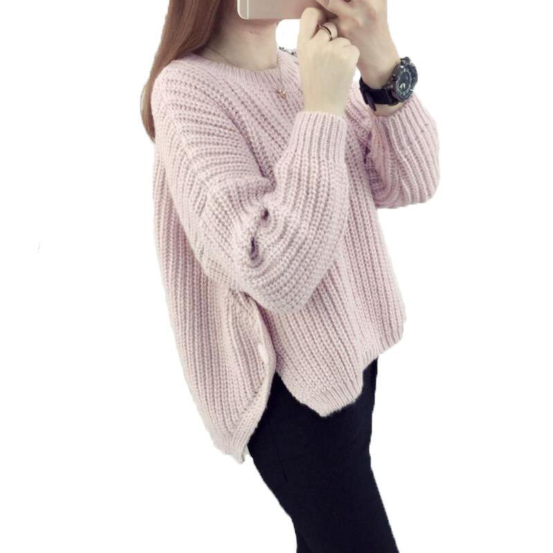 Новый 2017 Осень Зима повседневная О-образным вырезом теплые женские свитера и пуловеры Batwing рукавом короткий вязаный свитер свободные тянуть Femme