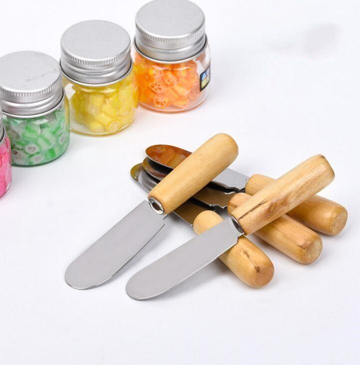 DHL Stainless Steel Cake Butter Spatula Wood Butter Knife Cheese Dessert Jam Spreader Cutlery toast Tool