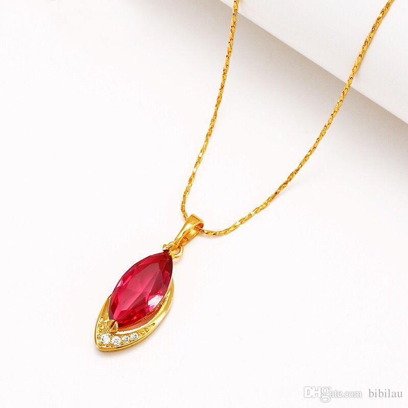 2ed46cf75bf5 Compre 222P Red Horse Eye Mariquesa Colgantes Collar Para Mujeres Elegantes  Joyas De Moda 24 K Chapado En Oro 45 Cm Cadena A  2.52 Del Bibilau