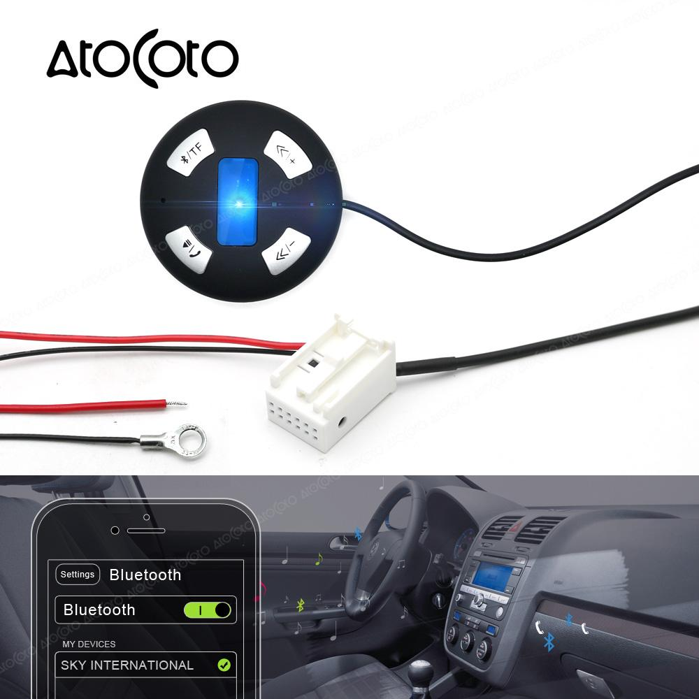 Bluetooth Car Kit 12 Pin Plug Module AUX Receiver Adapter for VW RCD 210  310 510 CD Radio Wireless TF Card Audio Input Hand Free