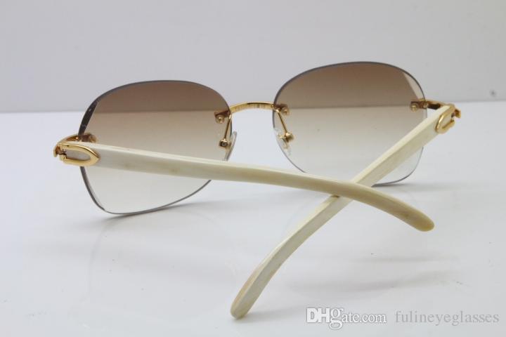 Rimless White Buffalo Horn Sunglasses 3524012 Unisex Limited edition Good Quality Glasses outdoors driving glasses women men Sun glasses