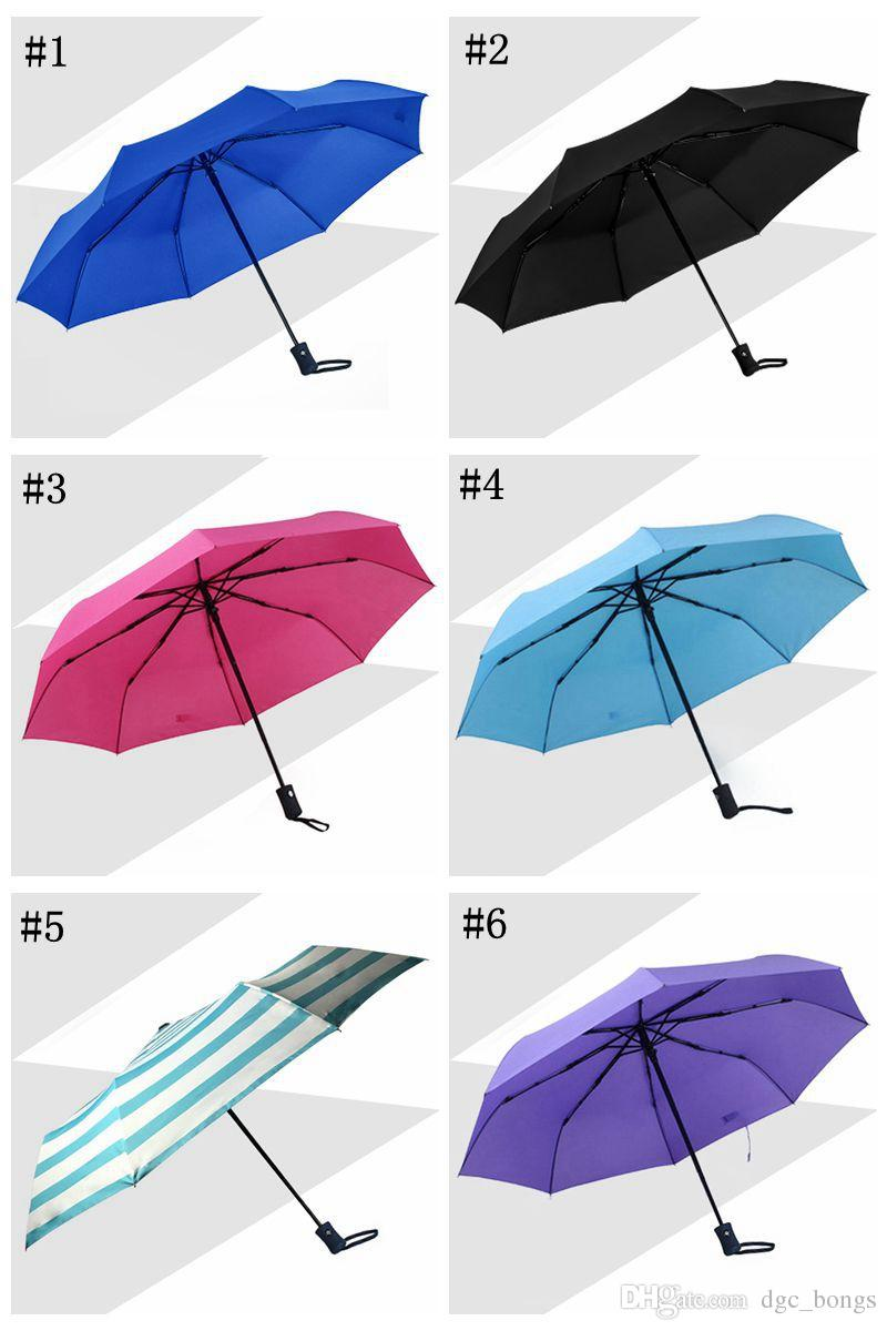 Livre Fedex Guarda-chuva Automático de Viagem Guarda-sóis de Praia Auto Fechar Fechar Anti-ultravioleta Umbrella Três Folding Guarda-chuvas Para Ensolarado Dia Chuvoso