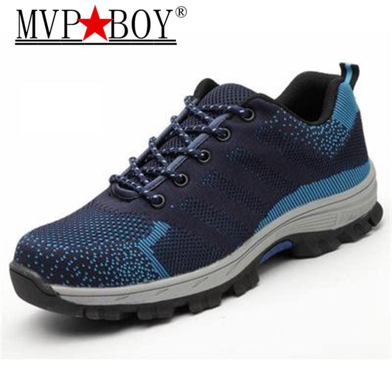 36d88739064 MVP BOY Spring Summer Work Shoes Men Fashion Mesh Breathable Steel Toe  Casual Ankle Boots Labor Insurance Men's Safety Sneakers