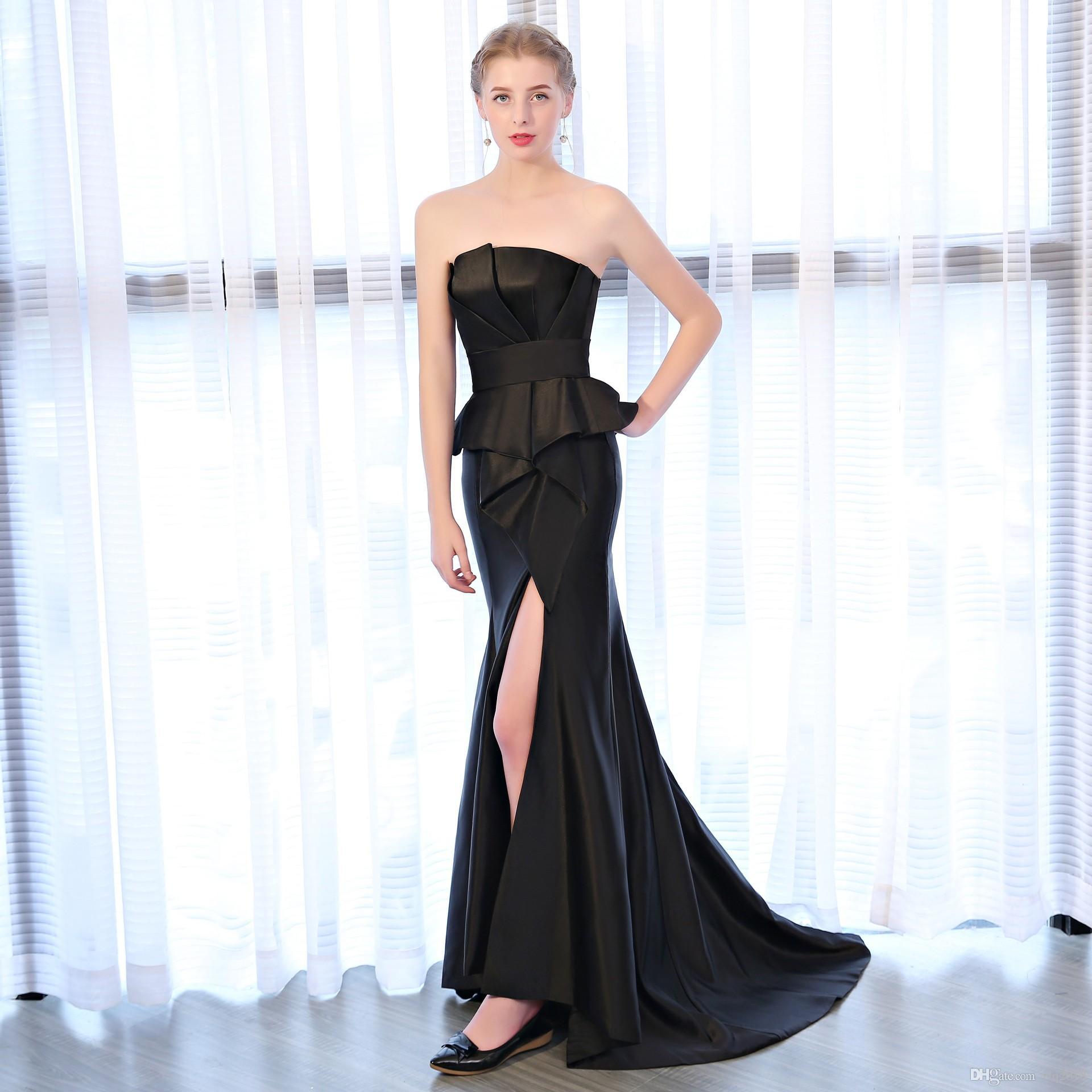 Großhandel Sexy Black Prom Dresses 2018 Liebsten Rüschen Mermaid ...